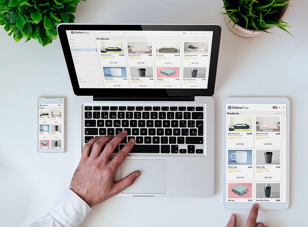 responsiv nettbutikk på laptop, mobil og nettbrett